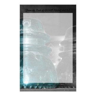 Pieza azul de la foto de los aisladores coloreada papelería