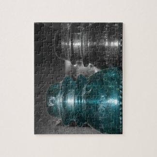 Pieza azul de la foto de los aisladores coloreada puzzle