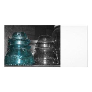 Pieza azul de la foto de los aisladores coloreada tarjetas fotográficas
