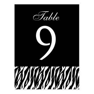 Pieza blanca negra del número de la tabla de la tarjetas postales
