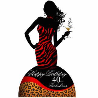 Pieza central del cumpleaños del leopardo de la fotoescultura vertical