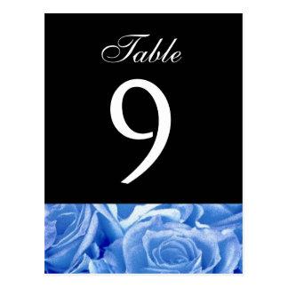 Pieza color de rosa azul del número de la tabla tarjeta postal