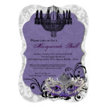 Pieza púrpura de Halloween del traje de la máscara Invitación 12,7 X 17,8 Cm