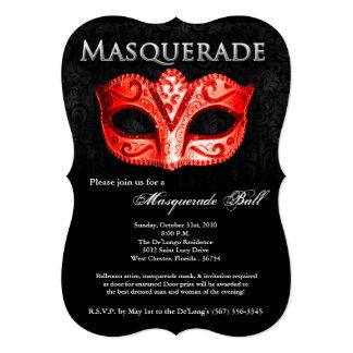 """Pieza roja de Halloween del traje de la máscara de Invitación 5"""" X 7"""""""
