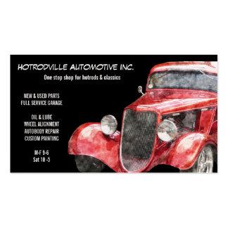 Piezas automotrices y coche clásico rojo de Hotrod Tarjetas De Negocios