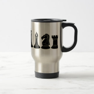 Piezas de ajedrez negras - taza reutilizable del