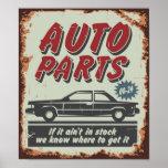 Piezas de automóvil que hacen publicidad de estilo posters