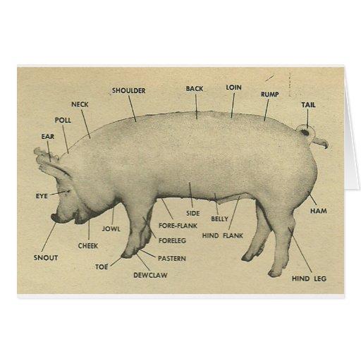 piezas del cerdo tarjeta de felicitación