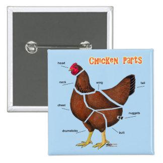 Piezas del pollo pin cuadrado