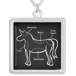 Piezas del unicornio collar plateado