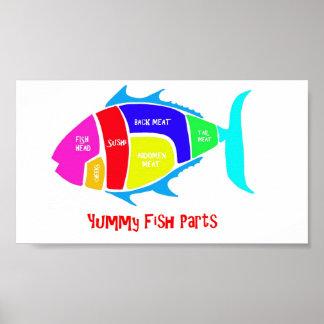 Piezas deliciosas de los pescados póster
