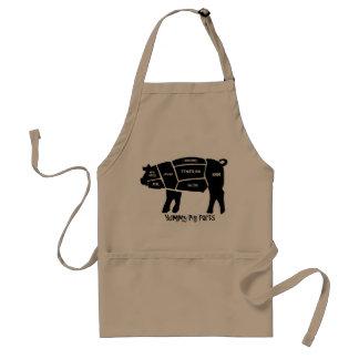 Piezas deliciosas del cerdo delantal