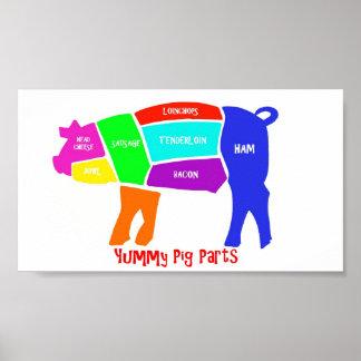 Piezas deliciosas del cerdo póster