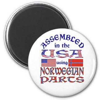 Piezas noruegas imán redondo 5 cm