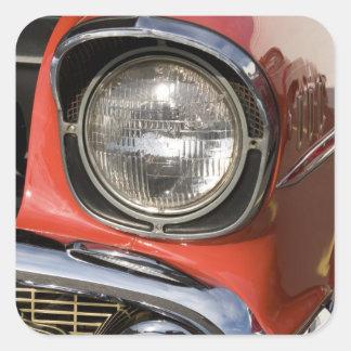 Piezas y linterna clásicas del cromo del coche colcomanias cuadradas personalizadas