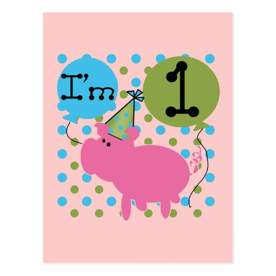 Pig 1st Birthday Tshirts and Gifts Postcard