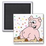 Pig 2 Inch Square Magnet