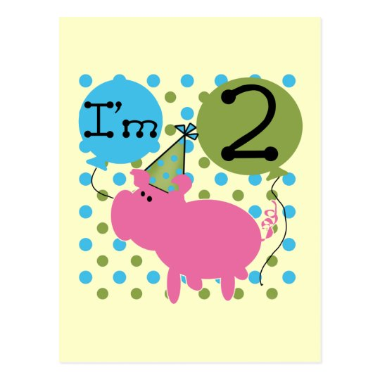 Pig 2nd Birthday T shirts and Gifts Postcard
