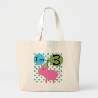Pig 3rd Birthday Canvas Bags