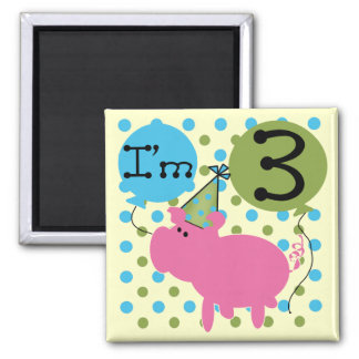Pig 3rd Birthday Tshirts and Gifts 2 Inch Square Magnet