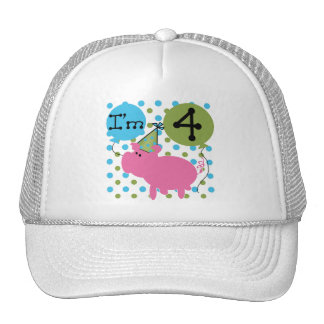 Pig 4th Birthday Tshirts and Gifts Trucker Hat