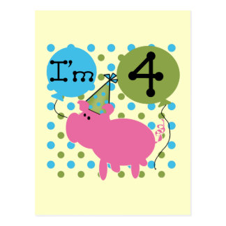 Pig 4th Birthday Tshirts and Gifts Postcard