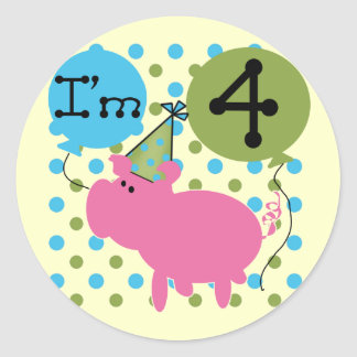 Pig 4th Birthday Tshirts and Gifts Classic Round Sticker