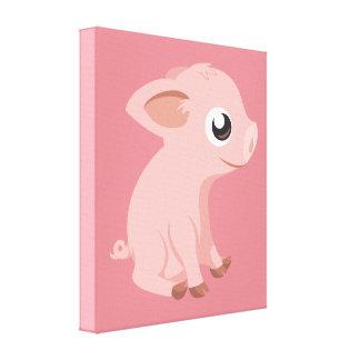 pig-576570 HUMBLE HAPPY PINK PIG PIGLET PIGGY CART Canvas Print