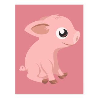 pig-576570 HUMBLE HAPPY PINK PIG PIGLET PIGGY CART Postcard