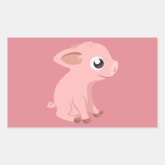 pig-576570 HUMBLE HAPPY PINK PIG PIGLET PIGGY CART Rectangular Sticker