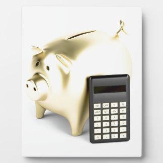 Pig and calculator plaque