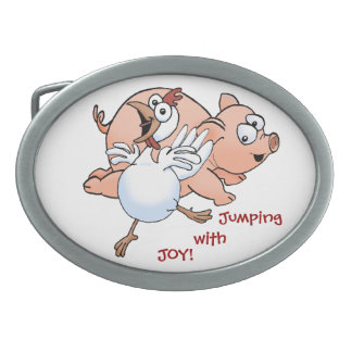Pig and chicken jumping with joy! belt buckle