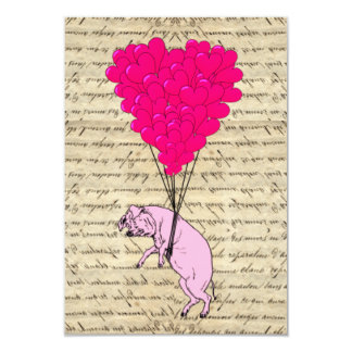 Pig and heart balloons card