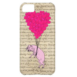 Pig and heart balloons cover for iPhone 5C