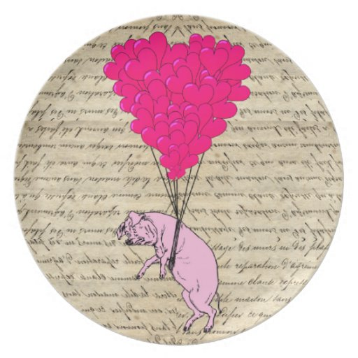 Pig and heart balloons dinner plates