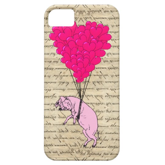 Pig and heart balloons iPhone SE/5/5s case