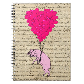 Pig and heart balloons spiral notebooks