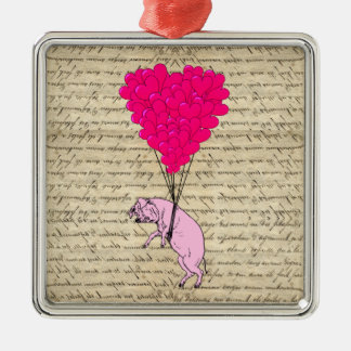 Pig and heart balloons square metal christmas ornament