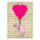 Pig and heart balloons personalized invitations