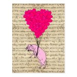 Pig and heart balloons post card