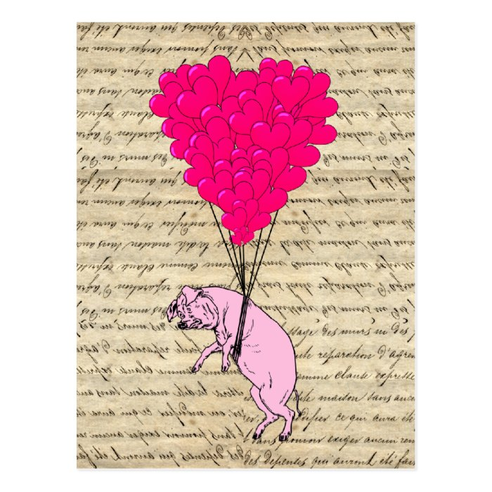 Pig and heart balloons postcard