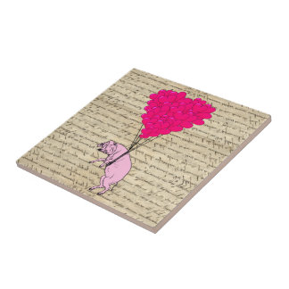 Pig and heart balloons tile