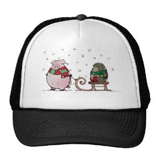 Pig and hedgehog trucker hat