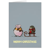 Pig and hedgehog with scarfs card