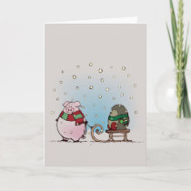Pig and hedgehog with scarfs holiday card