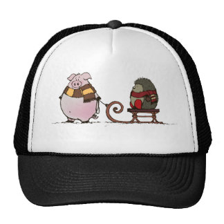 Pig and hedgehog with scarfs trucker hat
