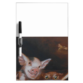 Pig and Owl for Breakfast family farm Dry-Erase Board