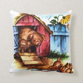 Pig and Piglets Vintage Storybook Throw Pillow
