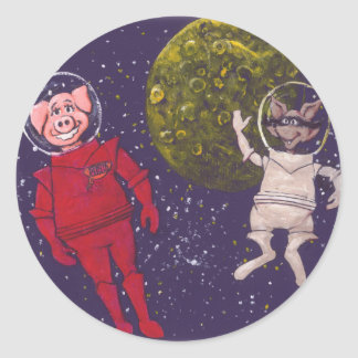 Pig and Raccoon and Moon Classic Round Sticker