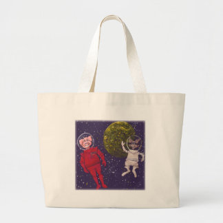 Pig and Raccoon and Moon Large Tote Bag